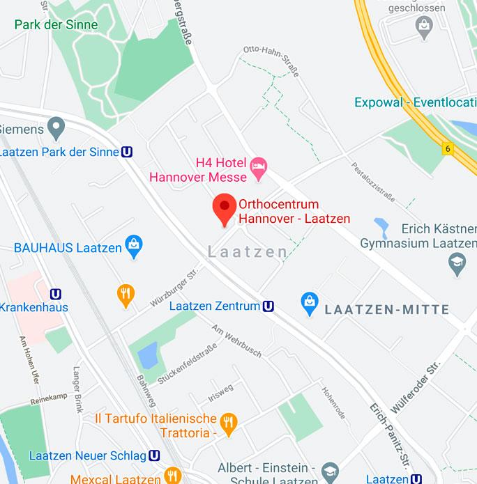 Orthocentrum Hannover Laatzen auf google Maps