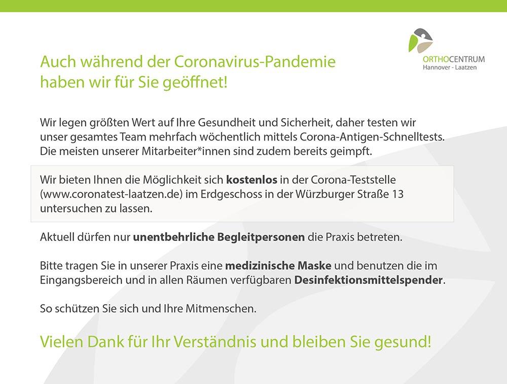 Coronavirus Info im OCL - Ihr Orthopäde in Hannover Laatzen
